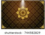 thai art frame border pattern... | Shutterstock .eps vector #744582829