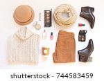 set of female stylish clothes... | Shutterstock . vector #744583459