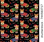 seamless christmas pattern with ... | Shutterstock .eps vector #744583717
