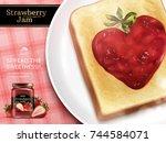 strawberry jam ads  closeup... | Shutterstock .eps vector #744584071