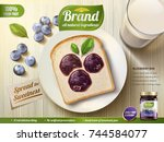 blueberry jam ads  blueberry... | Shutterstock .eps vector #744584077