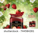 strawberry jam ads  fresh fruit ... | Shutterstock .eps vector #744584281