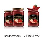 strawberry jam package design ... | Shutterstock .eps vector #744584299