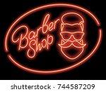 neon sign barber shop. red neon ... | Shutterstock .eps vector #744587209