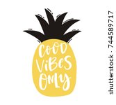 cute print with lettering. good ... | Shutterstock .eps vector #744589717