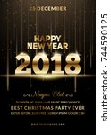 new year 2018 party club poster.... | Shutterstock .eps vector #744590125