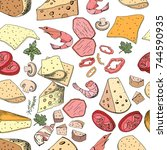 seamless pattern with pizza and ...