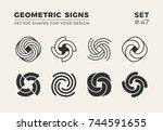 set of eight minimalistic... | Shutterstock .eps vector #744591655