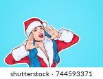 beautiful girl wear santa... | Shutterstock .eps vector #744593371