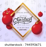 merry christmas sale background ... | Shutterstock .eps vector #744593671
