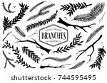 hand drawn branches and twigs.... | Shutterstock .eps vector #744595495