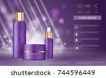 hydrating facial skincare set... | Shutterstock .eps vector #744596449