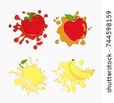 lemon  tomato  apple  banana... | Shutterstock . vector #744598159