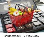 shopping basket full of grocery ... | Shutterstock . vector #744598357