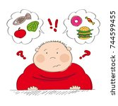 dubious fat man thinking of... | Shutterstock .eps vector #744599455