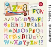 set of scrapbook letters and... | Shutterstock .eps vector #744599491