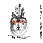 hand drawn print with wolf and... | Shutterstock .eps vector #744600199