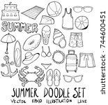set of summer illustration hand ... | Shutterstock .eps vector #744600451