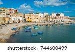 old harbour in bisceglie ... | Shutterstock . vector #744600499