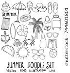 set of summer illustration hand ... | Shutterstock .eps vector #744601801