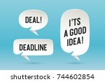 set of paper bubble cloud talk... | Shutterstock .eps vector #744602854