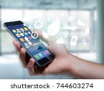 view of a technology ecologic... | Shutterstock . vector #744603274