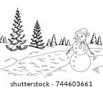 winter forest graphic snowman... | Shutterstock .eps vector #744603661