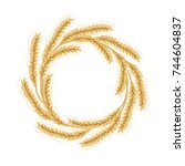 wreath made of wheat. concept...   Shutterstock .eps vector #744604837