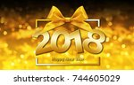 happy new year text in box... | Shutterstock . vector #744605029