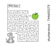cartoon mouse maze game. funny... | Shutterstock .eps vector #744605275