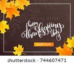 vector thanksgiving sale banner ... | Shutterstock .eps vector #744607471