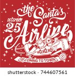 the santa airline is coming to... | Shutterstock .eps vector #744607561