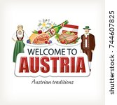 austria sticker header... | Shutterstock .eps vector #744607825