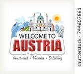 austria sticker header... | Shutterstock .eps vector #744607861