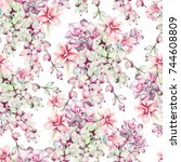 watercolor pattern with... | Shutterstock . vector #744608809