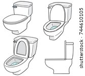 vector set of flush toilet | Shutterstock .eps vector #744610105