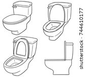 vector set of flush toilet | Shutterstock .eps vector #744610177