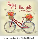 vintage background with bicycle ... | Shutterstock .eps vector #744610561