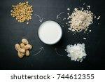 non dairy milk concept | Shutterstock . vector #744612355