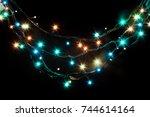 christmas romantic lights frame ...   Shutterstock . vector #744614164
