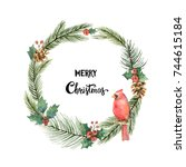 watercolor christmas frame with ... | Shutterstock . vector #744615184