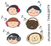 vector set of people and animal ... | Shutterstock .eps vector #744618979