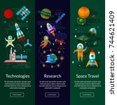space universe vertical  banner ... | Shutterstock .eps vector #744621409
