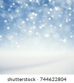 winter background  falling snow ... | Shutterstock . vector #744622804