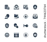 glyph style icon set. icons for ... | Shutterstock .eps vector #744623764