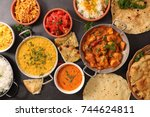 assorted indian dish | Shutterstock . vector #744624811
