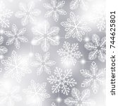 snowflakes pattern. seamless... | Shutterstock .eps vector #744625801