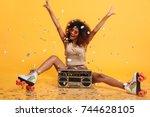 beautiful young african woman... | Shutterstock . vector #744628105