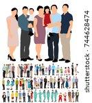 flat style people  family  men  ... | Shutterstock . vector #744628474