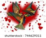 love triangle of birds fighting ... | Shutterstock . vector #744629311